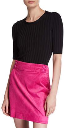 Veronica Beard Dillon Ribbed Short-Sleeve Sweater