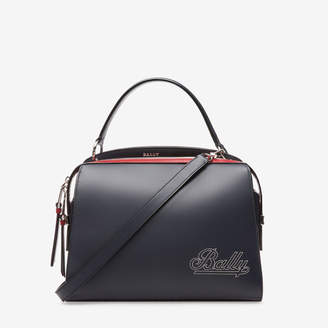 Bally Amoeba Large Blue, Women's plain bovine leather top handle bag in ink