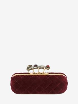 Alexander McQueen Velvet Matelasse Four Ring Clutch