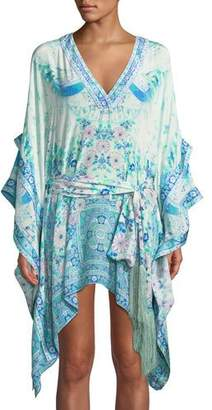 Camilla Double-Layer Printed Silk Kimono-Sleeve Dress
