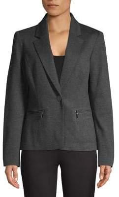 Kasper Suits Zip Pocket Single Button Blazer