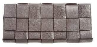 Michael Kors Basketweave Leather Clutch