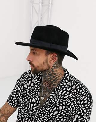 Asos DESIGN pork pie hat in black with diamond crown