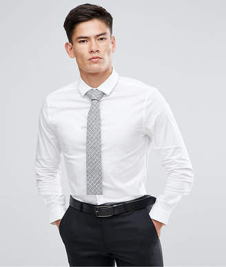 Asos Skinny Shirt In White With Grey Design Tie Save