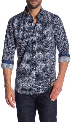 Bugatchi Abstract Print Woven Shaped Fit Shirt