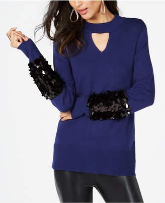 Thalia Sodi Sequined Mock-Neck Sweater