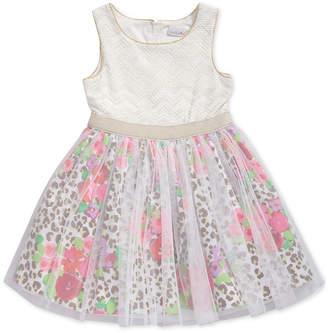 Sweet Heart Rose Glitter-Mesh Animal-Print Dress, Toddler Girls