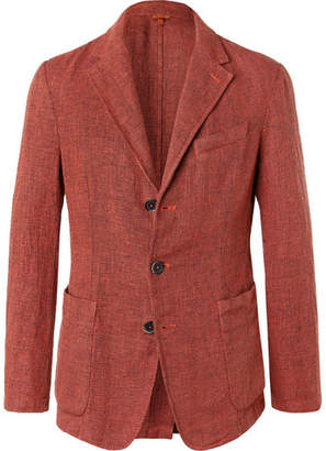 Barena Red Slim-Fit Unstructured Melange Linen-Blend Blazer - Red