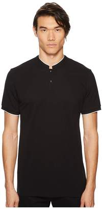 The Kooples Black Polo Shirt with Skull and Crossbone Buttons