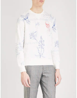Alexander McQueen Floral-print skull-embroidery cotton-jersey sweatshirt