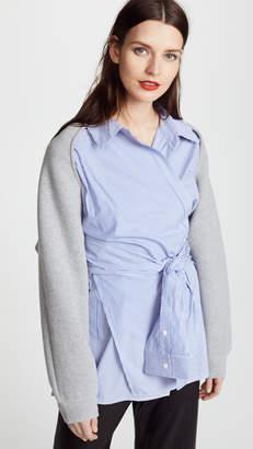 Alexander Wang Dense Fleece with Poplin Combo Wrap Shirt