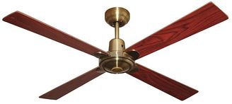 Four Seasons by Martec Alpha 4-Blade Ceiling Fan with Remote Control, Antique Brass