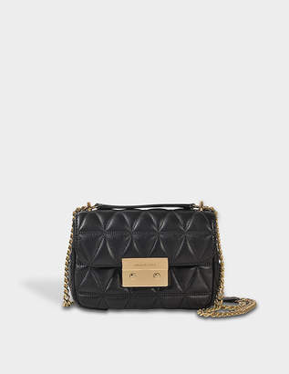 MICHAEL Michael Kors Sloan Small Chain Shoulder Bag in Black Pyramid Quilted Lamb