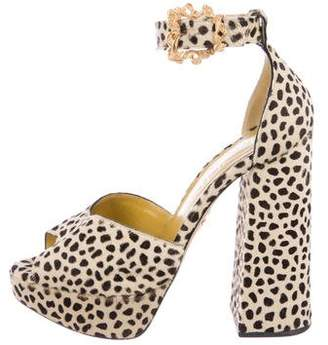 Olympia Pony Hair Ankle Strap Pumps