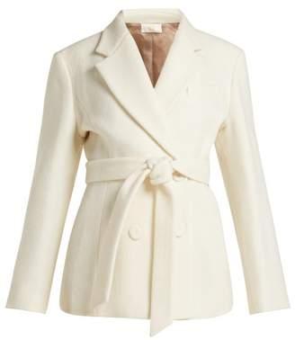 Sara Battaglia - Double Breasted Tie Waist Wool Blend Jacket - Womens - Cream