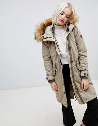 Only parka with faux fur hood