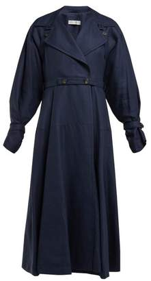 Palmer Harding Palmer//Harding Palmer//harding - Double Breasted Linen And Wool Blend Trench Coat - Womens - Navy