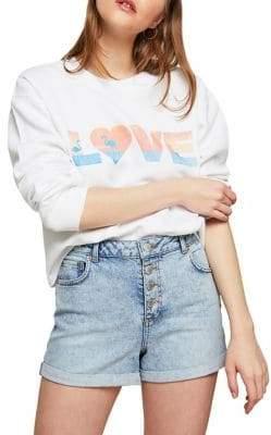 Miss Selfridge Love Cropped Sweatshirt