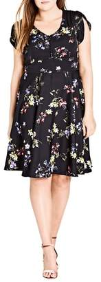 City Chic Free Love Floral Fit & Flare Dress