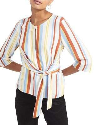 Miss Selfridge Striped Tie-Front Blouse