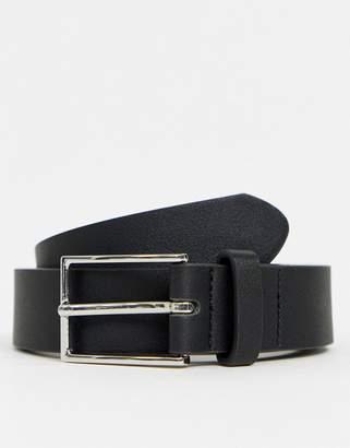 Asos Design DESIGN smart faux leather slim belt in black