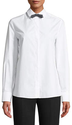 Escada Long-Sleeve Button-Front Cotton Shirt w/ Removable Bow Tie