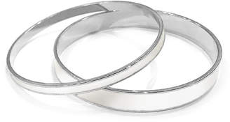 Tuleste White & Silver Enamel Channel Bangle (Set of 2)