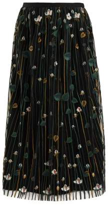 RED Valentino Floral Embroidered Pleated Tulle Skirt - Womens - Black Multi