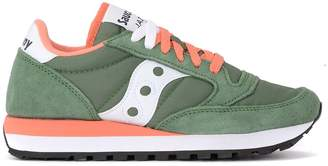 Saucony Sneaker Jazz Green Suede And Fabric Sneaker With Coral Details