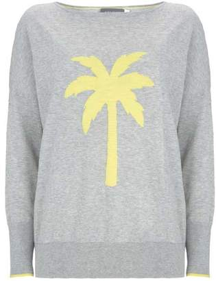 Mint Velvet Grey Palm Tree Motif Knit