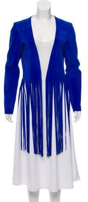 ThePerfext Fringed Suede Jacket blue ThePerfext Fringed Suede Jacket