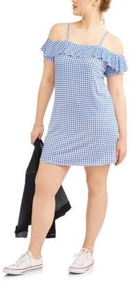 POOF Juniors' Plus Ruffle Cold Shoulder Knit Gingham Sun Dress
