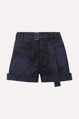 Proenza Schouler Pswl Tie-dyed Stretch-denim Shorts - Navy