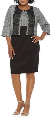 Danny & Nicole 3/4 Sleeve Lace Trim Jacket Dress - Plus