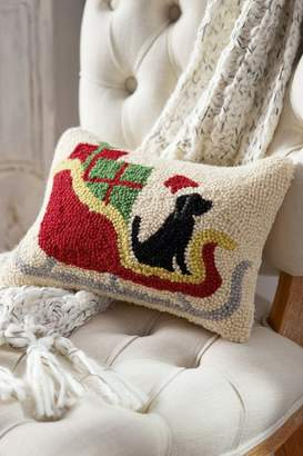 Soft Surroundings Max in the Sleigh Hooked Pillow