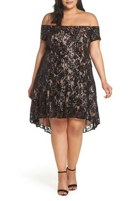 Morgan & Co. Off the Shoulder Sequin Lace Dress