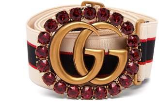 Gucci Crystal GG striped elastic belt