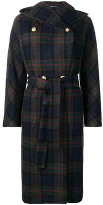 Tagliatore tartan pattern hooded coat