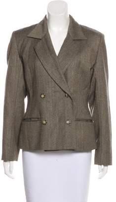Halston Wool Herringbone Blazer