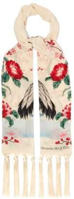 Alexander McQueen Japanese Print Silk Scarf - Womens - Ivory
