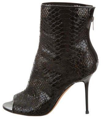 Jimmy ChooJimmy Choo Snakeskin Peep-Toe Ankle Boots