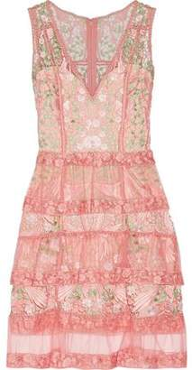 Marchesa Tiered Guipure Lace And Tulle Dress