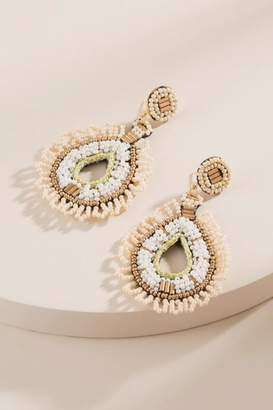 francesca's Cecily Woven Beaded Teardrop Earrings - Ivory