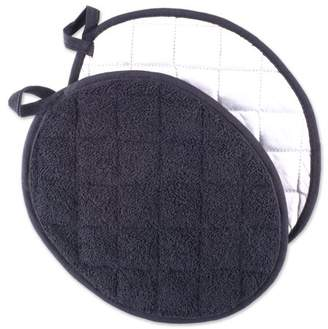 "Design Imports Black Oval Potholders, Set of 2, 9.5""x7.5"", 100% Cotton, Black"