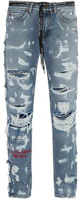 Off-white - Distressed Slim Leg Jeans - Mens - Indigo