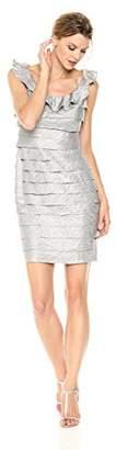 London Times Women's Sleeveless Scoop Neck Sheath Dress W. Ruffle