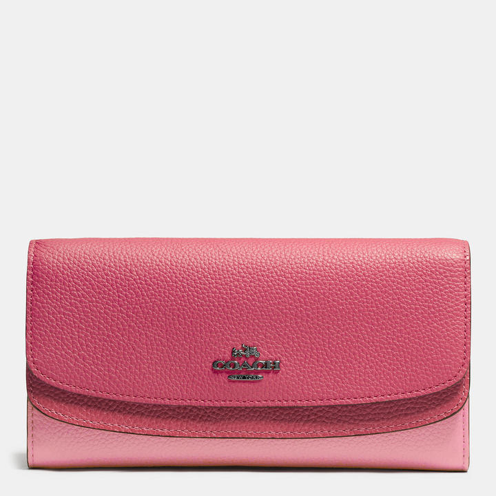 Coach   COACH Coach Double Flap Wallet In Colorblock Leather