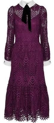 Temperley London New Moon Velvet-Trimmed Corded Lace Midi Dress