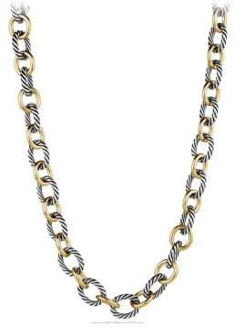 David Yurman Large Oval Link Necklace With 18K Gold