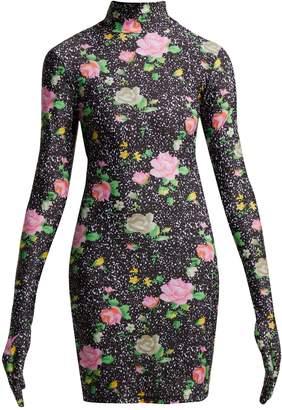 Vetements Floral-print glove-sleeved jersey mini dress